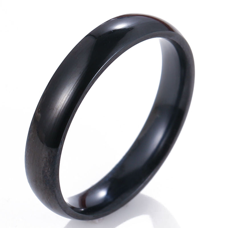 4mm Men Women Polished Titanium Stainless Steel Ring Black Ring Promise Ring