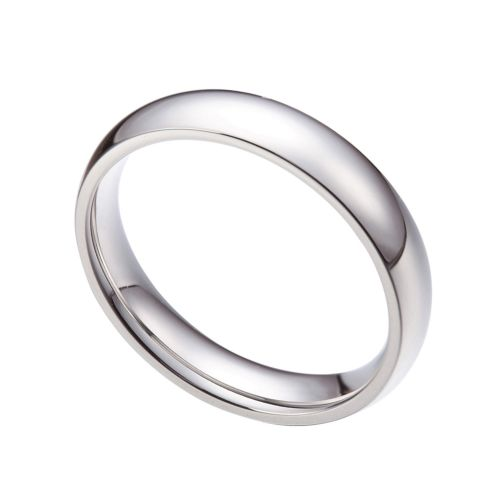 4MM Stainless Steel Plain Silver Ring Wedding Engagement Promise Ring Band