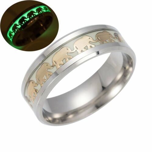 Vintage Glow in The Dark Golden Elephant Luminous Stainless Steel Ring Jewelry