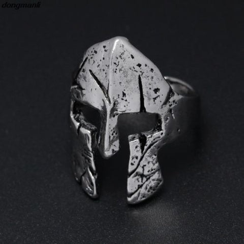 Antique Silver Spartan Helmet Mask Ring Vintage Punk Biker Cosplay Cool Jewelry