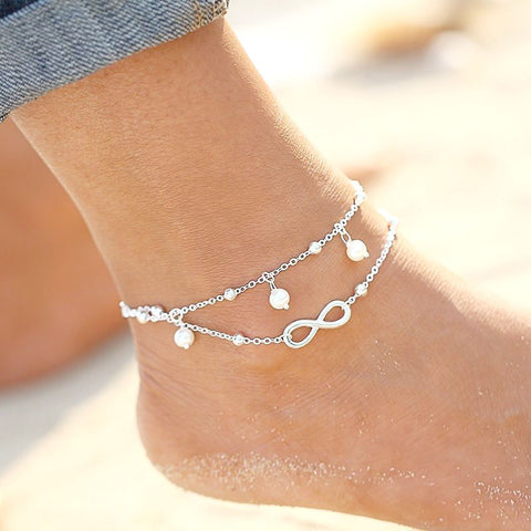 Fashion Silver Infinity Charm Double Chain Anklet Foot Jewelry Ankle Bracelet