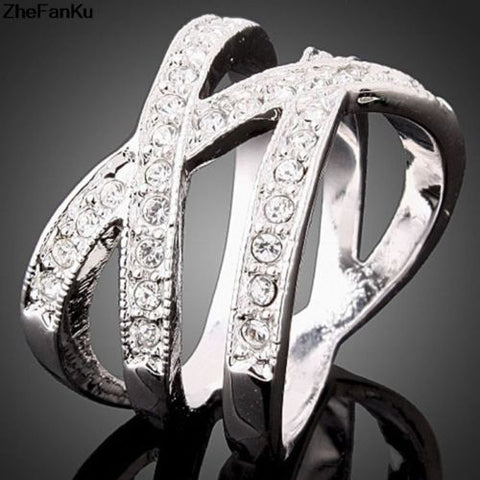 New Womens Silver Plated Austrian Zircon Criss Cross Setting Double X Ring
