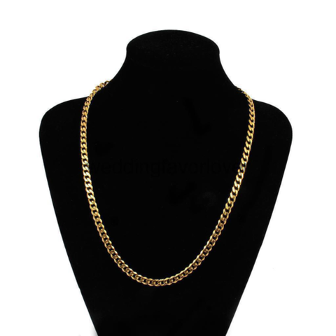 "18K Yellow Gold Plated Link Cuban Chain Necklace 18"" 6mm Thick Men's Jewelry"