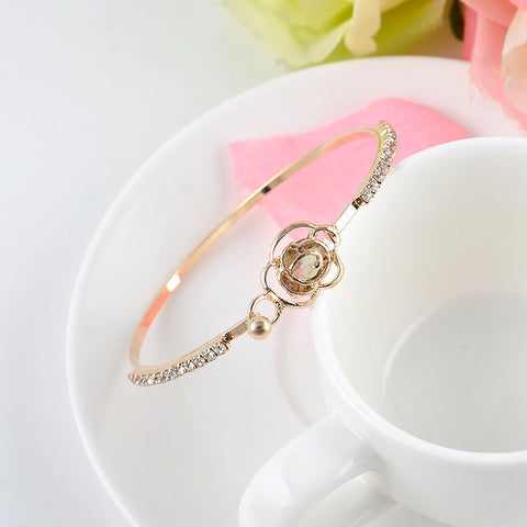 Elegant Women's Crystal Rose Flower Bangle Cuff Gold Plated Bracelet Jewelry