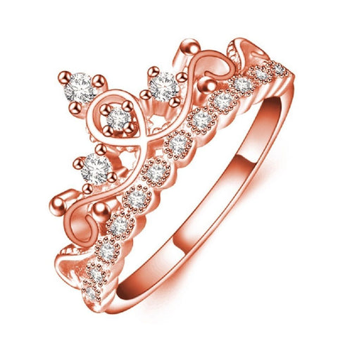 Women Rose Gold Plated Austrian Crystal Crown Ring Elegant Luxury Princess Ring