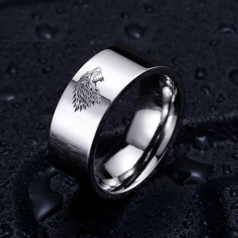 Game of Thrones Ice Wolf House Stark of Winterfell Stainless Steel Silver Ring