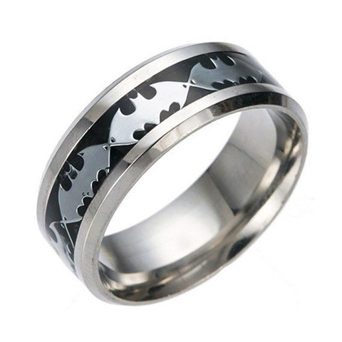 8mm Black Silver Batman Symbol Men His Titanium Stainless Steel Silver Ring Band