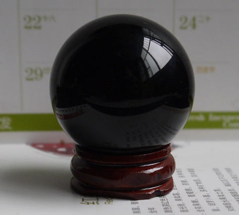 USA 40MM+Stand Polished Magic K9 Crystal Sphere Black Crystal Ball Healing Stone
