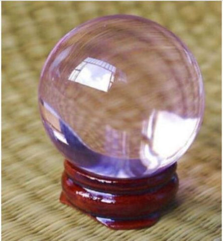 40mm+Stand Asian Rare Natural Light Pink Magic K9 Crystal Healing Ball Sphere