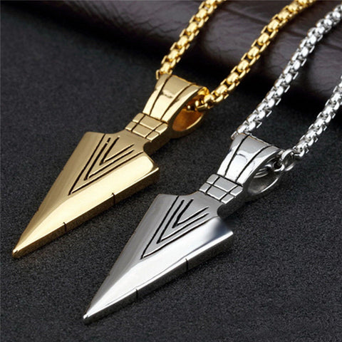 Men Fashion Jewelry Gold Silver Plated Arrowhead Pendant Long Chain Necklace