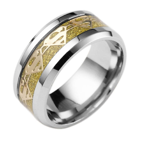 8mm Gold Fiber Superman Symbol Men His Titanium Stainless Steel Silver Ring Band