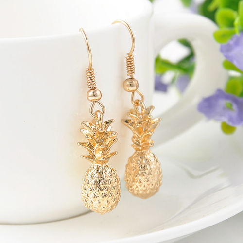 1 Pair Fashion Cute Fruit Pineapple Design Gold Plated Tone Dangle Earrings