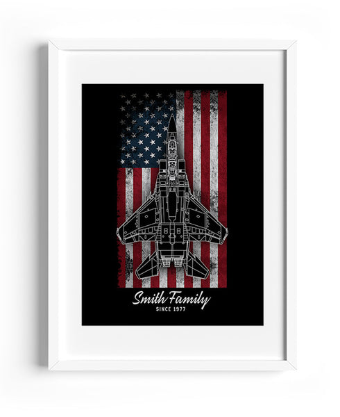 Personalized Aviation Vintage US Flag Print