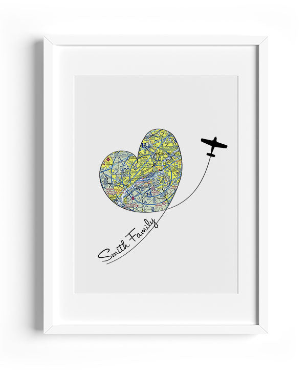 Personalized Aviation Heart Print