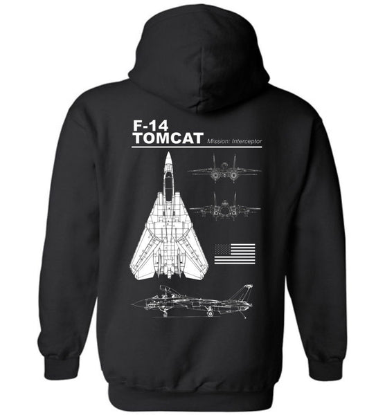 T-shirt - Awesome F-14 Tomcat Label Hoodie