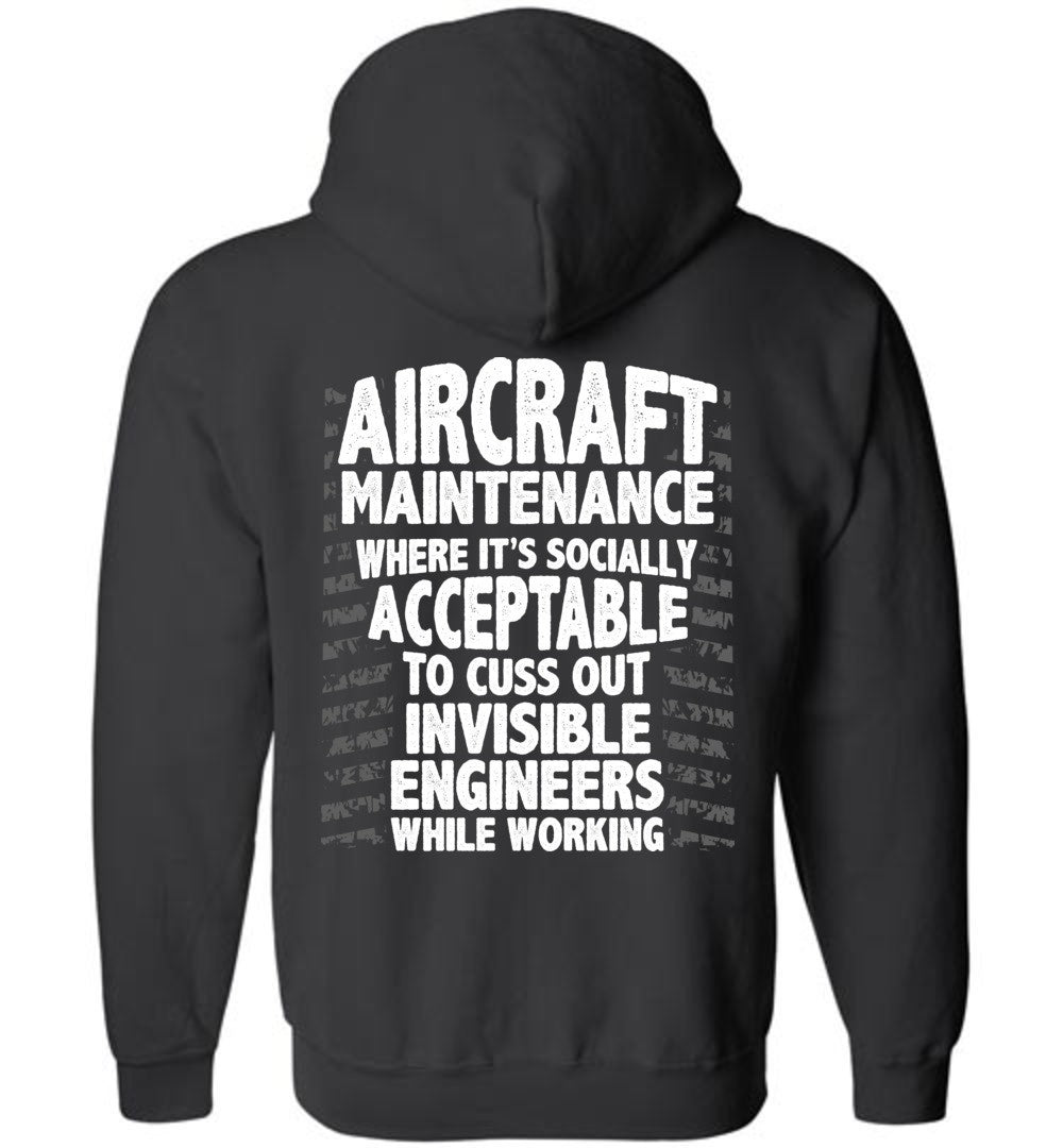 9f5c7101a90 Funny Aircraft Maintenance Zip up Hoodie! - Aircraft Mechanic Shirts.com