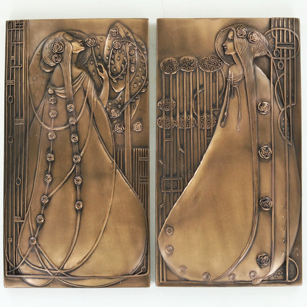 Mackintosh Style Bronze Wall Plaque Pair