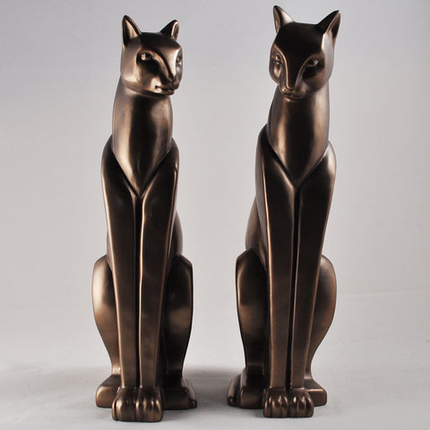Art Deco Cats Cold Cast Bronze