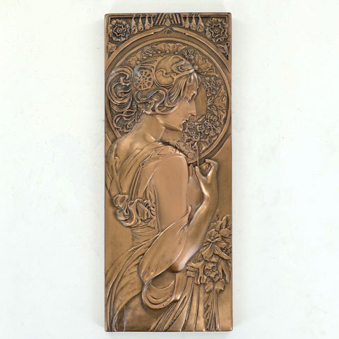 Art Deco Cherry Blossom Bronze Wall Plaque - Prezents