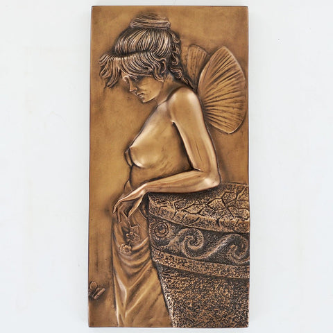 Art Deco Fairy Thought Bronze Wall Plaque