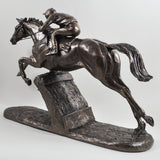 The Hurdler Cold Cast Bronze Horse Sculpture by Harriet Glen - Prezents.com