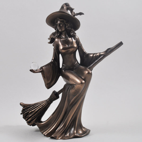 Witch Riding Broom, Magic Style Cold Cast Bronze Sculpture - Prezents.com