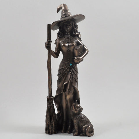 Witch With Black Cat, Magic Style Cold Cast Bronze Sculpture - Prezents.com