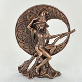 Witch with Celtic Moon Cold Cast Bronze Sculpture - Prezents.com
