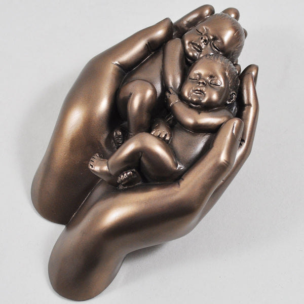 Babies in Hands, Cold Cast Bronze Sculpture - Prezents.com