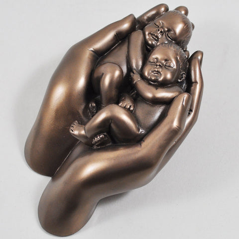 Babies in Hands, Cold Cast Bronze Sculpture - Prezents  - 1