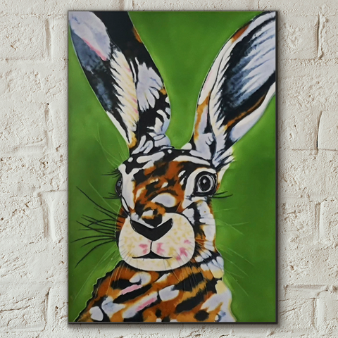 Mad Hare Day Decorative Ceramic Tile by Sam Fenner