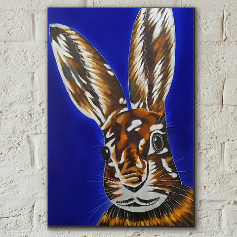 Hare Raising Decorative Ceramic Tile by Sam Fenner