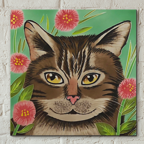 Tabby Cat Decorative Ceramic Tile by Judith Yates