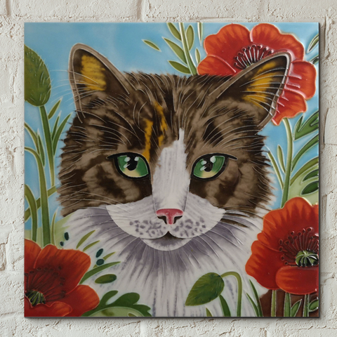 Poppy Patch Prowl Decorative Ceramic Tile by Judith Yates