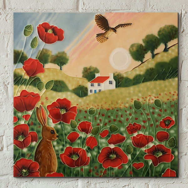 Poppy Meadow Sunset Decorative Ceramic Tile by Judith Yates