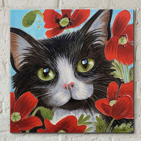 Peering Through Poppies Decorative Ceramic Tile by Judith Yates