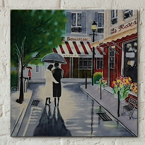Romantic Stroll Decorative Ceramic Tile by Brent Heighton