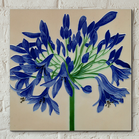 Agapanthus Decorative Ceramic Tile by Jaci Hogan