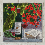 Red Wine & Flowers Decorative Ceramic Tile by Blossom & Bows