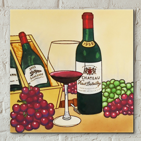 Vintage Wine Decorative Ceramic Tile by Blossom & Bows