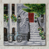 Floral Staircase Decorative Ceramic Tile by Kay Grant