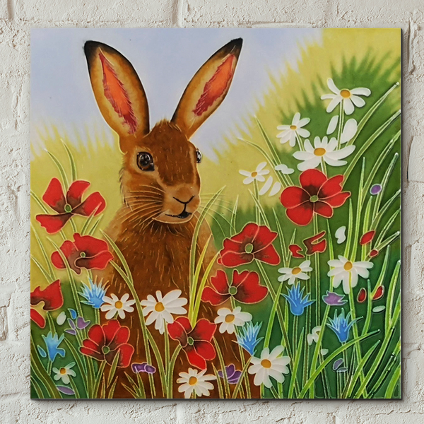 Hare In Flowers Decorative Ceramic Tile by Judith Yates