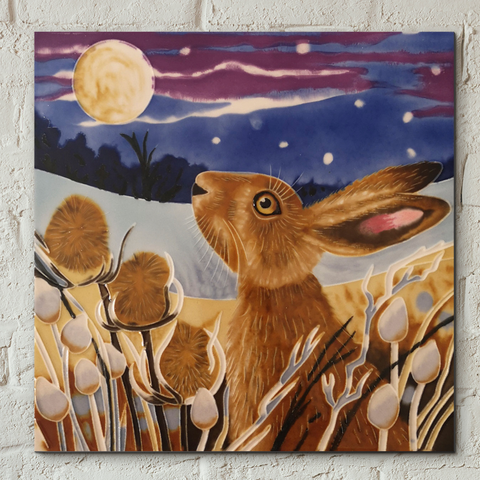 Moon Gazing Hare Decorative Ceramic Tile by Judith Yates