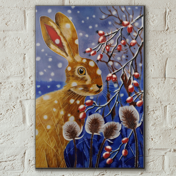 Winter Hare Decorative Ceramic Tile by Judith Yates