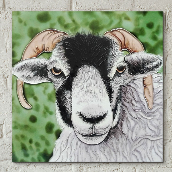 Black Faced Ram Decorative Ceramic Tile - Prezents.com