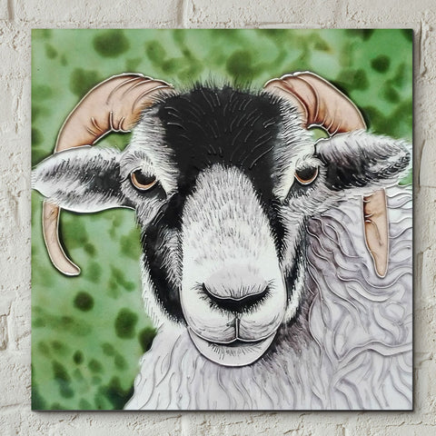 Black Faced Ram Decorative Ceramic Tile - Prezents