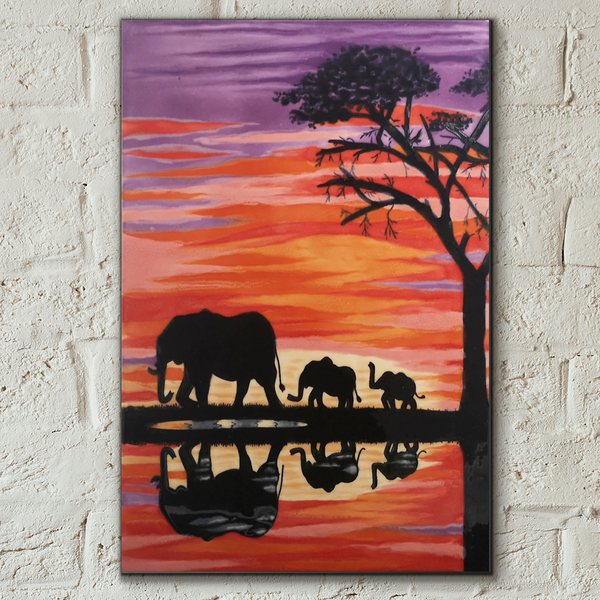 Elephants Decorative Ceramic Tile by Esther Marshall