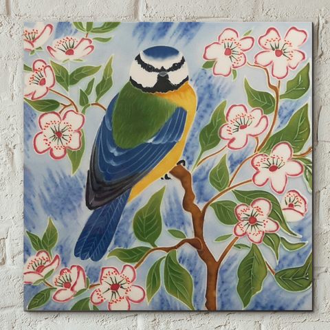 Blue Tit Decorative Ceramic Tile by Judith Yates