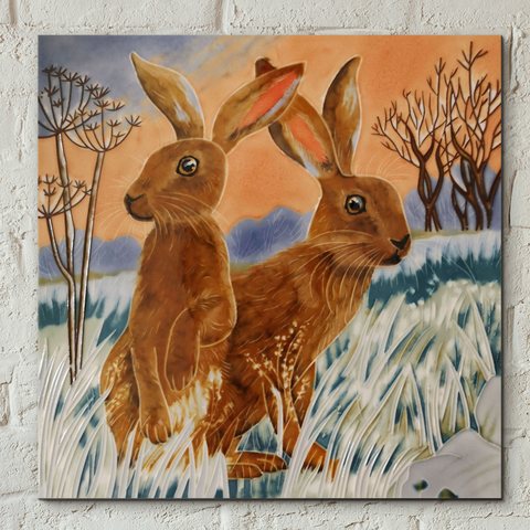 Bright New Day Hares Decorative Ceramic Tile by Judith Yates