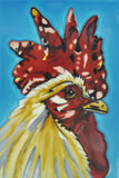 Funky Chicken Decorative Ceramic Tile by Sam Fenner